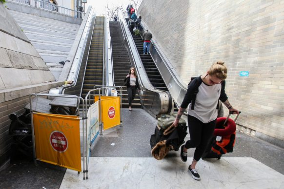 One of the escalator at Civic Center Bart Station is broken on Thursday, February 11, 2016. (Ekevara Kitpowsong/ S.F. Examiner)